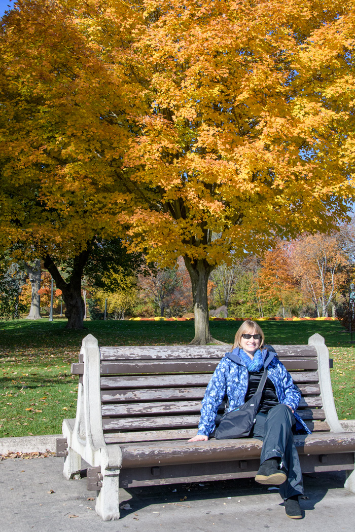 Yours truly opted for the 3-D realistic, spectacle of Niagara Falls and fall foliage from a comfortable FREE bench along the walkway in Niagara Park! Realistic spray from the falls included!