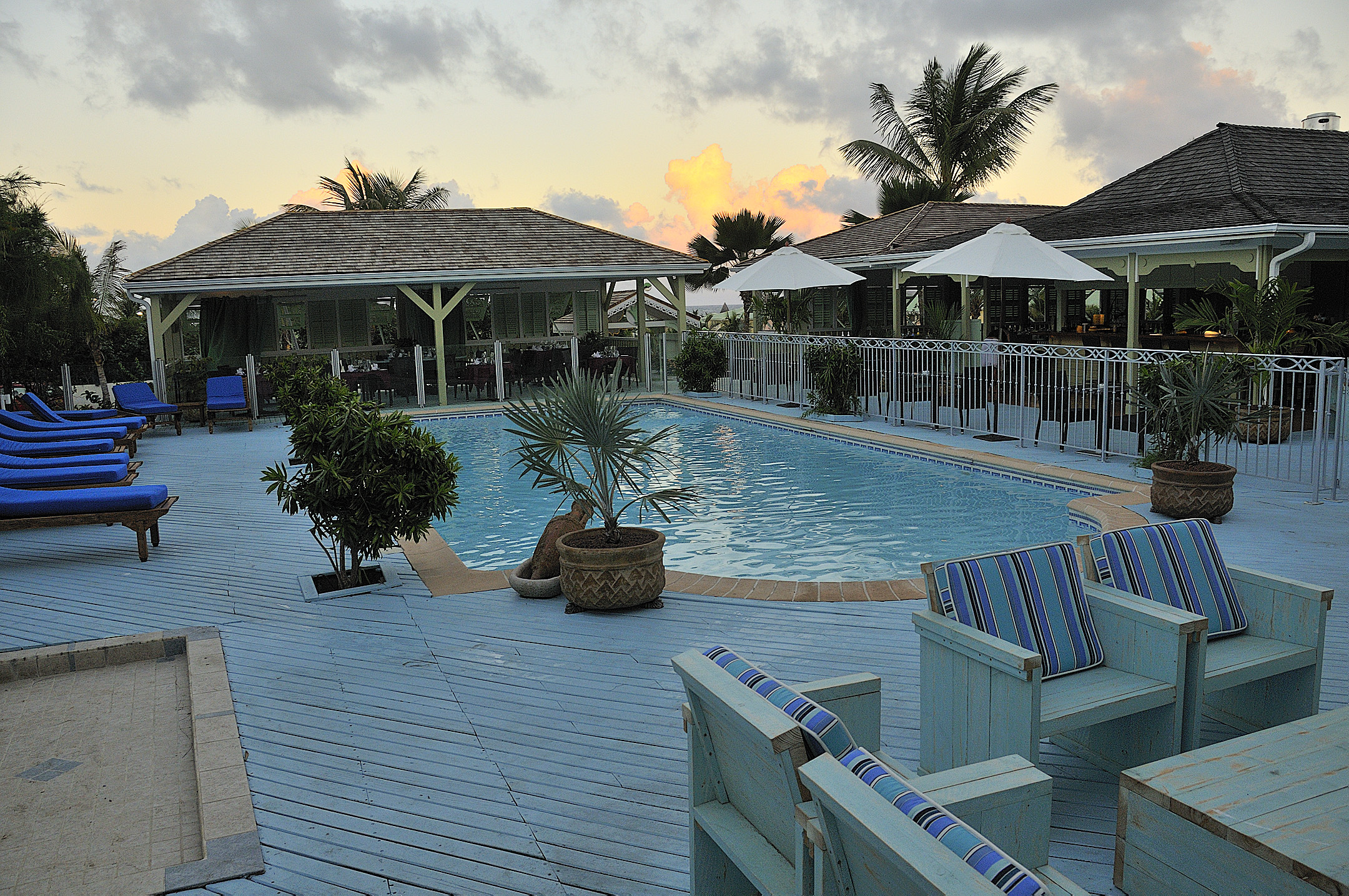 We won a free flight to St Martin, where we stayed at La Plantation- on our own nickel!
