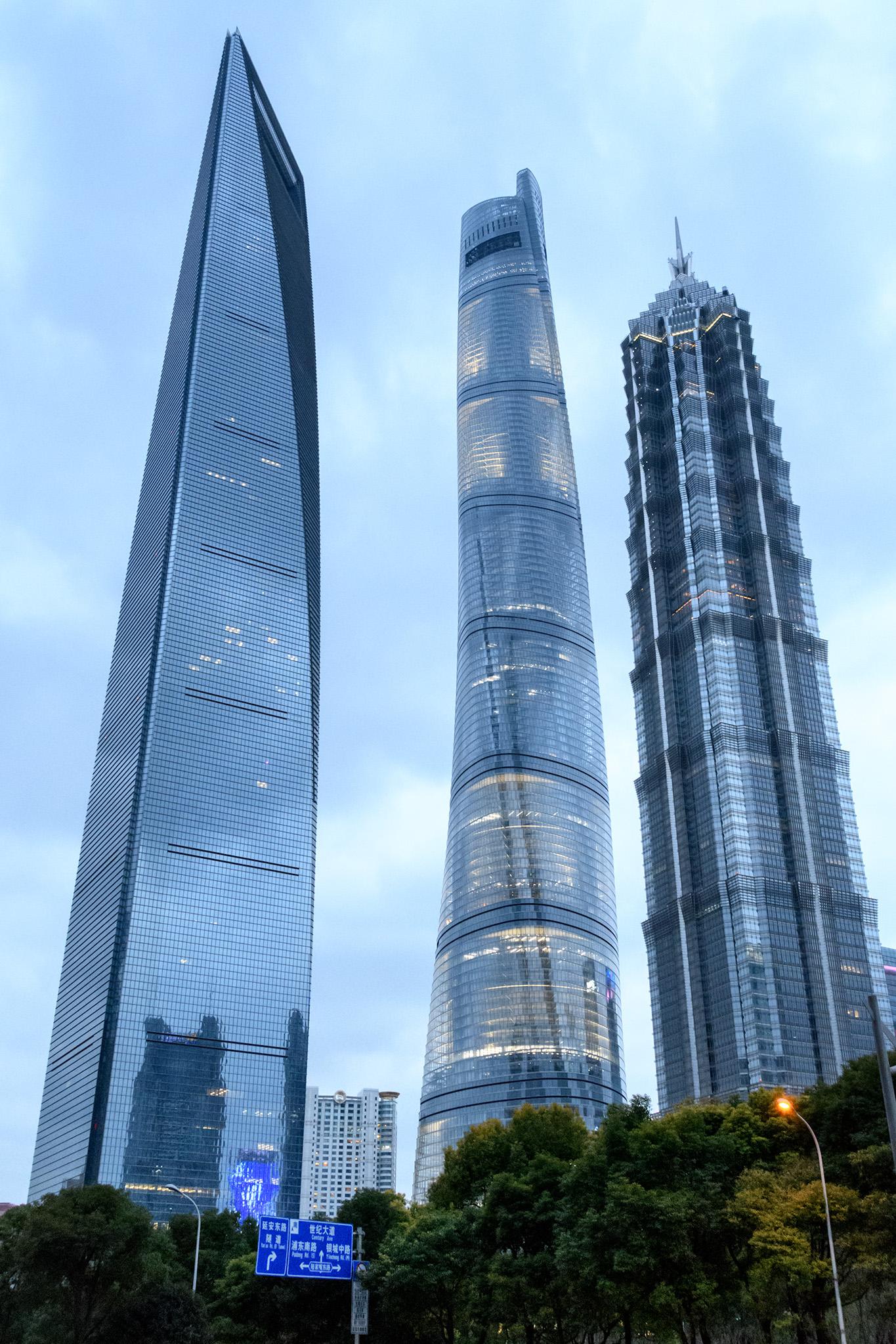 Shanghai World Financial Center, Shanghai Tower (the world's 2nd tallest building) & Jin Mao Tower