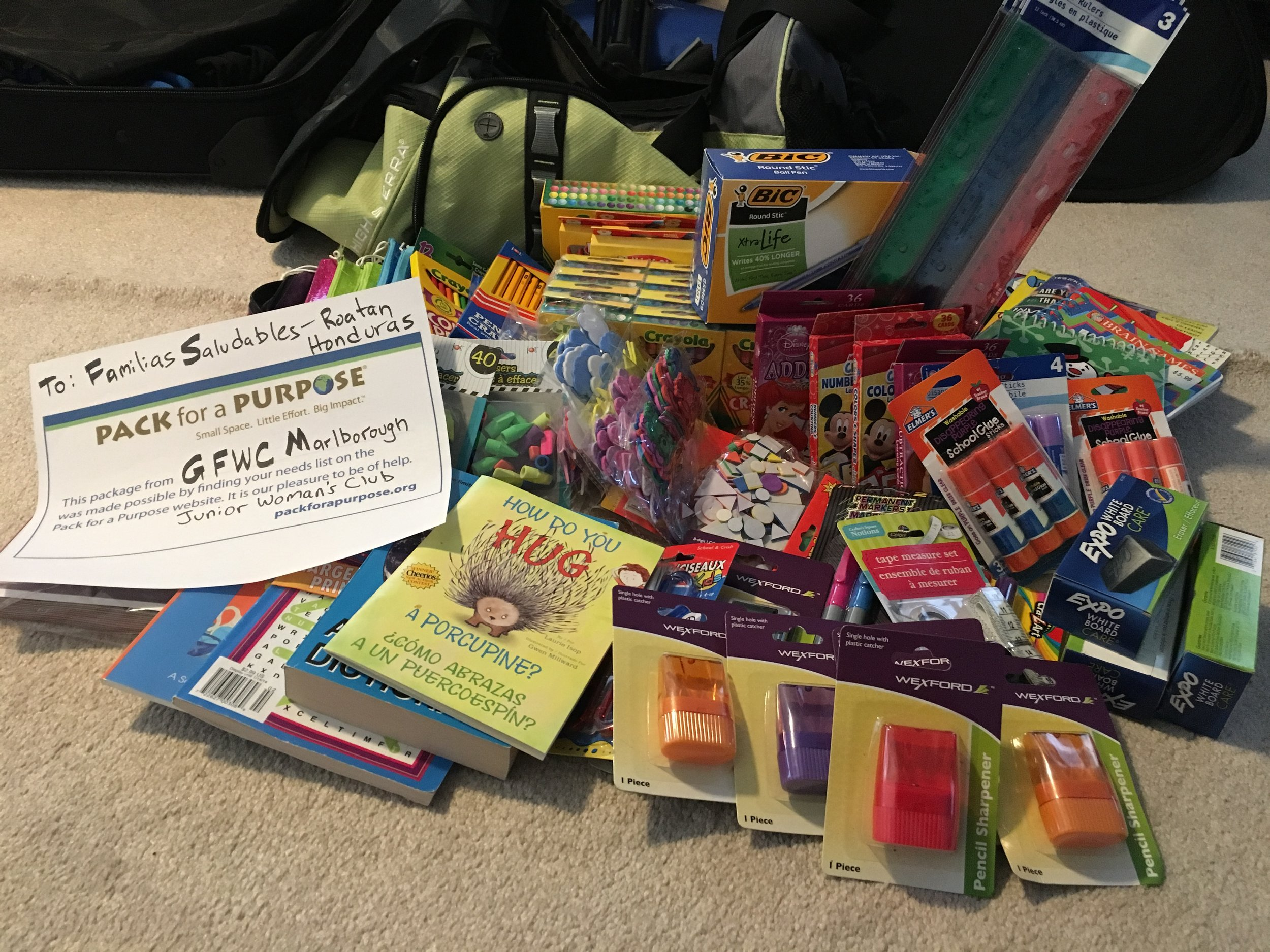 Supplies collectd by the MJWC for Familias Saludables