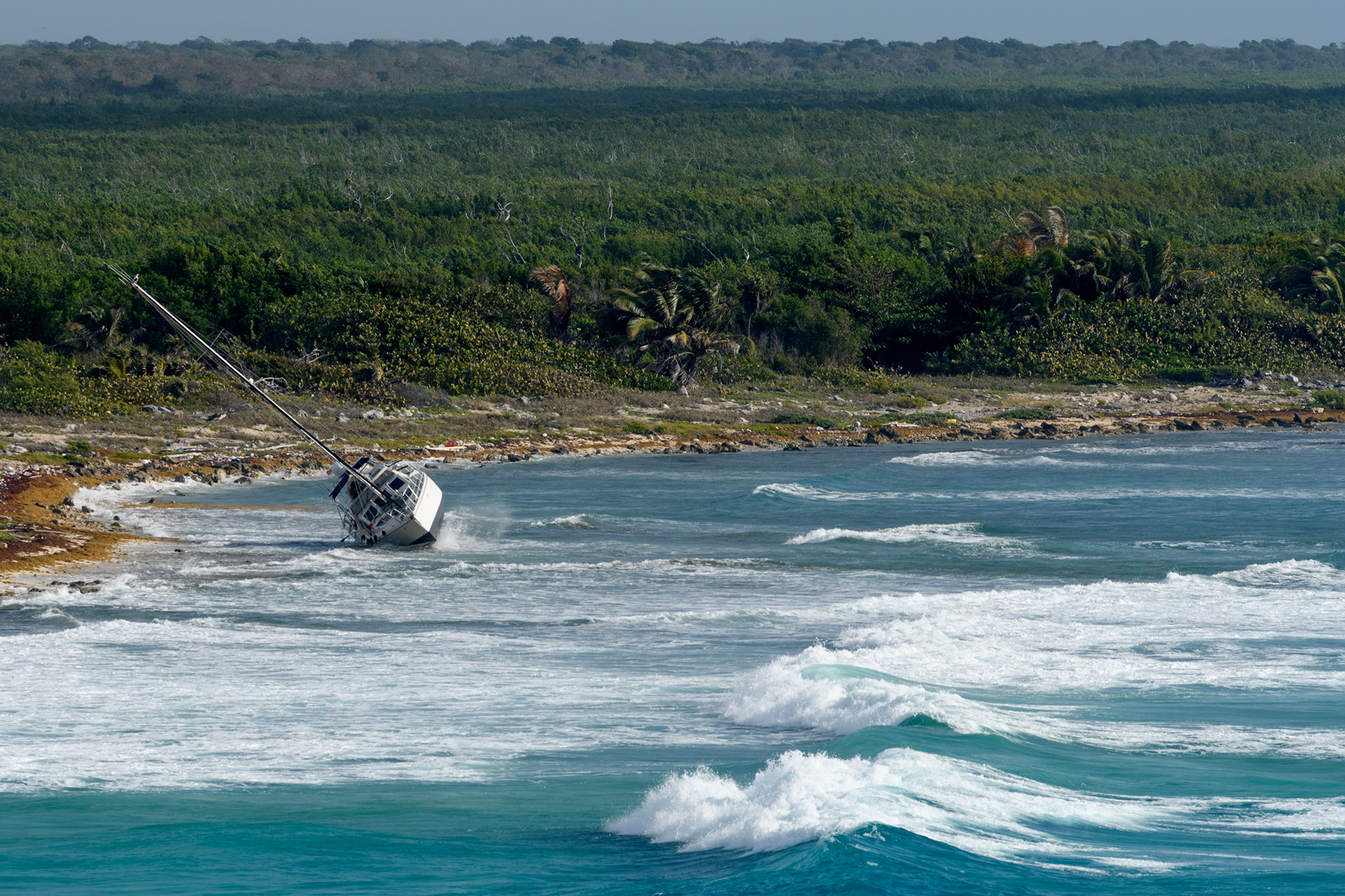 This wreck was already there, but it's clear how it could happen based on teh size of these waves!