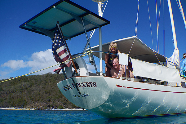 Randy (with his wife above)  is so good at planning fun stuff to do on cruises for his friends, like this private sailing charter in St Thomas, that he and his wife's biennial cruise trip over a dozen friends cruising with them each year!