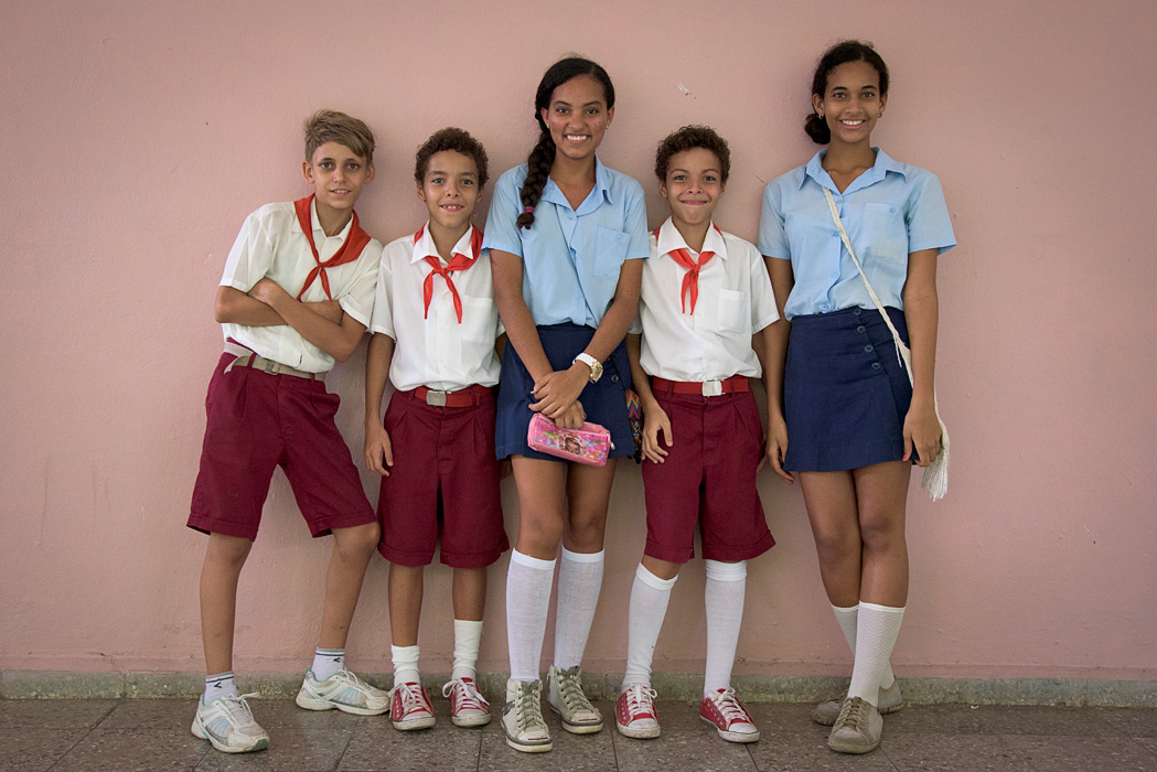 Children from an arts school in Matanzas pose just before leaving for summer break