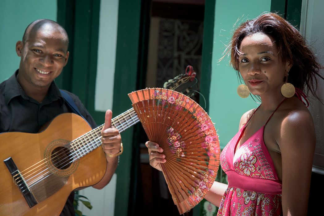 A couple entertains during a visit to a state run restaurant in Old Habana