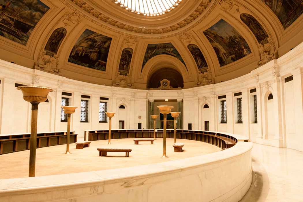 The rotunda of the Customs House is left open as a site for rest or reflection.