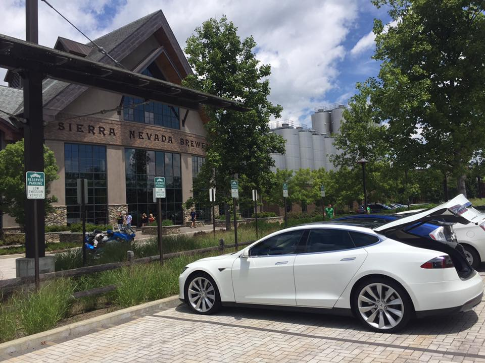 The Sierra Nevada Brewery, in Asheville, NC with front row parking for EV and hybrid vehicles