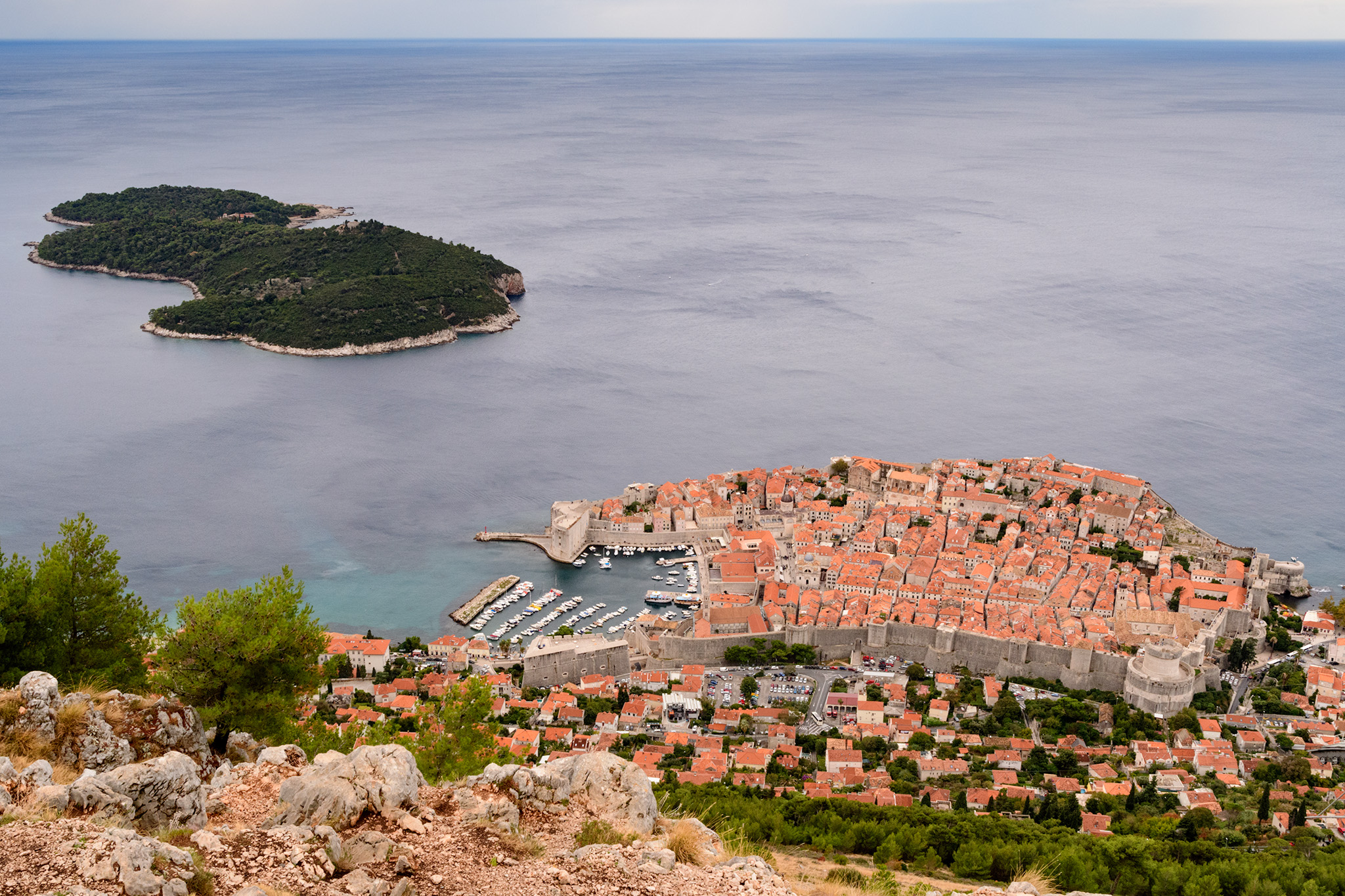 The walled city of Dubrovnik in the Adriatic with the famous red terracotta roofs.