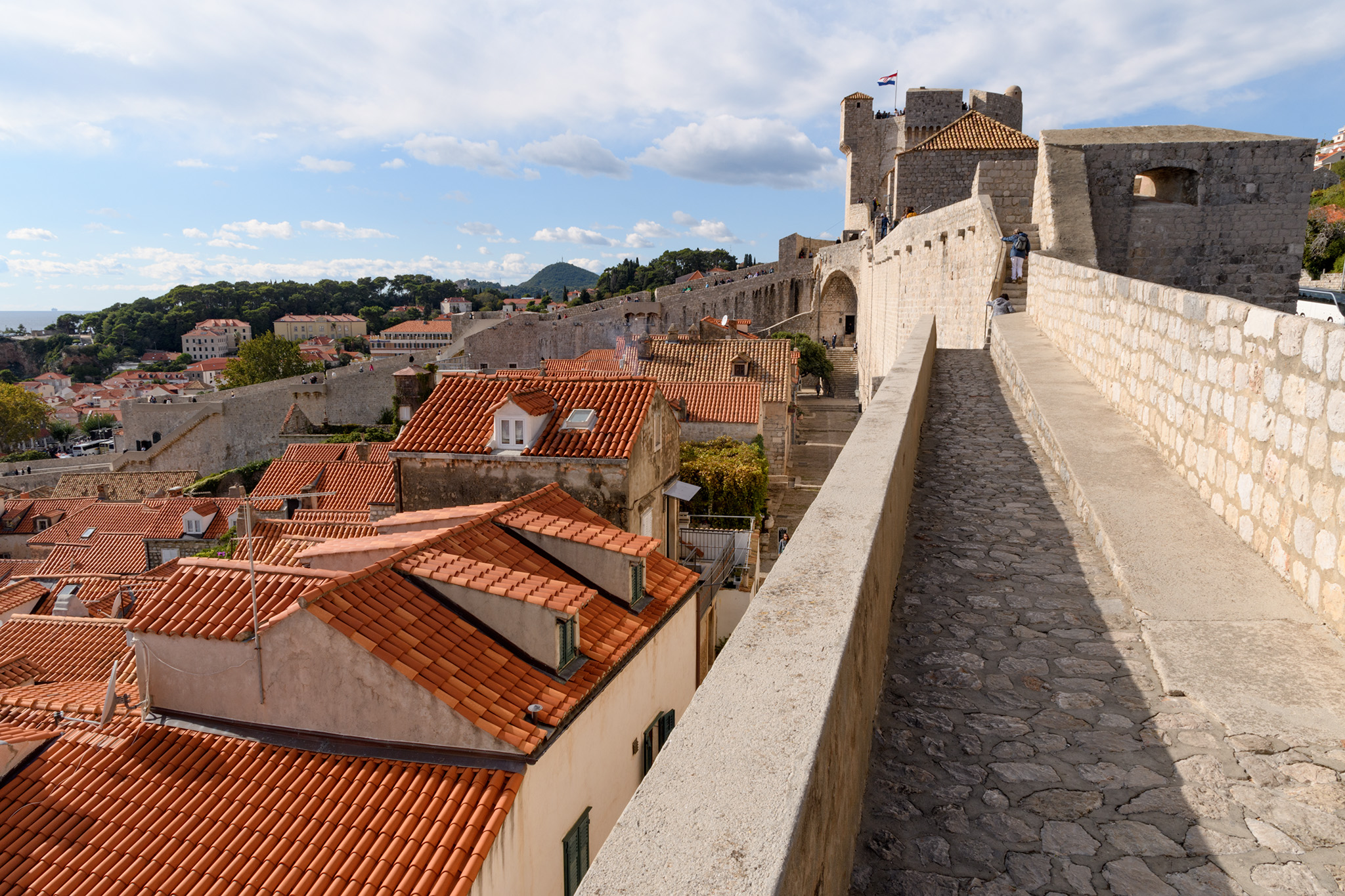 The walls above the red tile roof Old Town