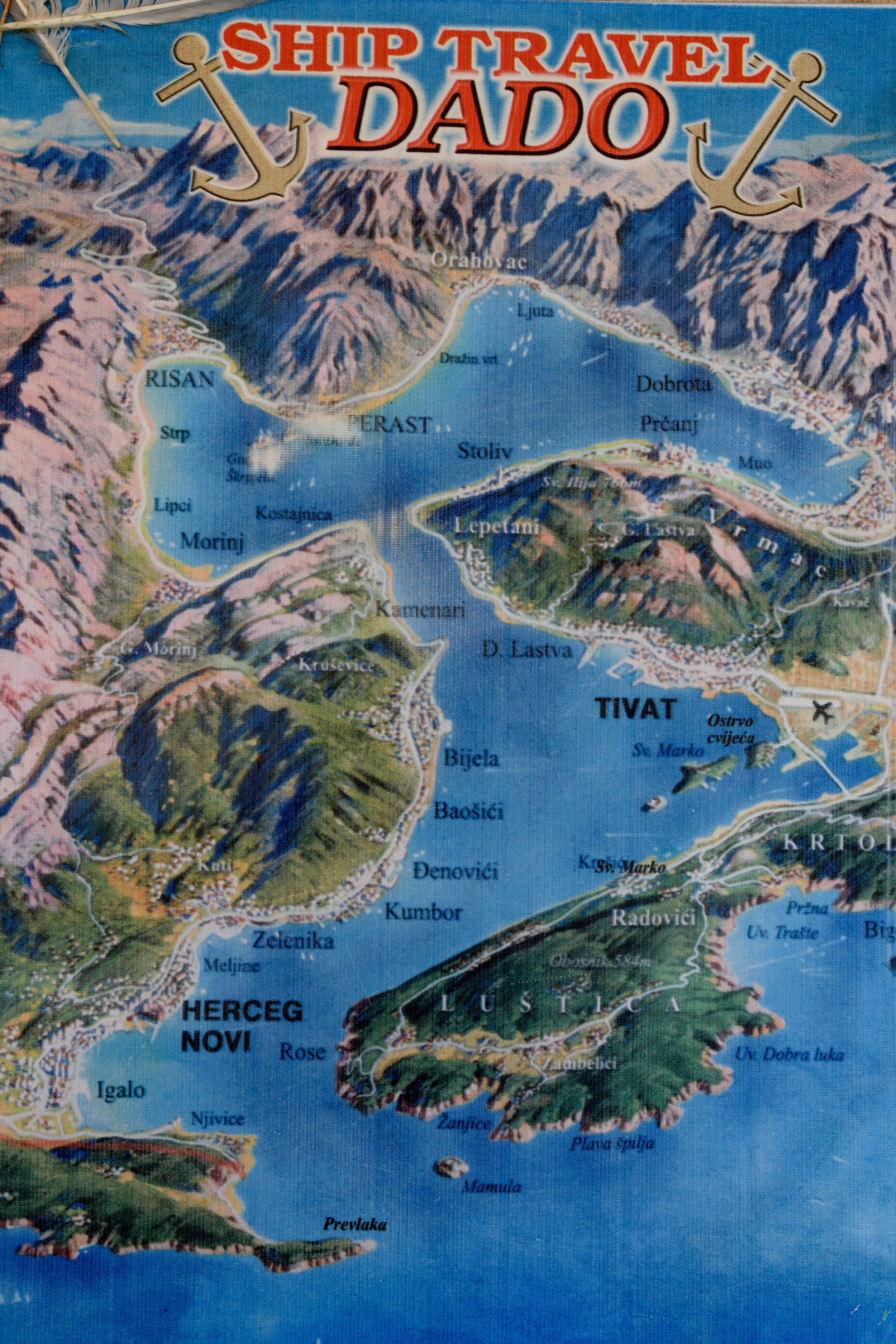 A local map of the narrow, twisting gorges heading into Bay of Kotor, after navigating this safely, you can see why fishermen, and cruise ship captains, would be grateful!