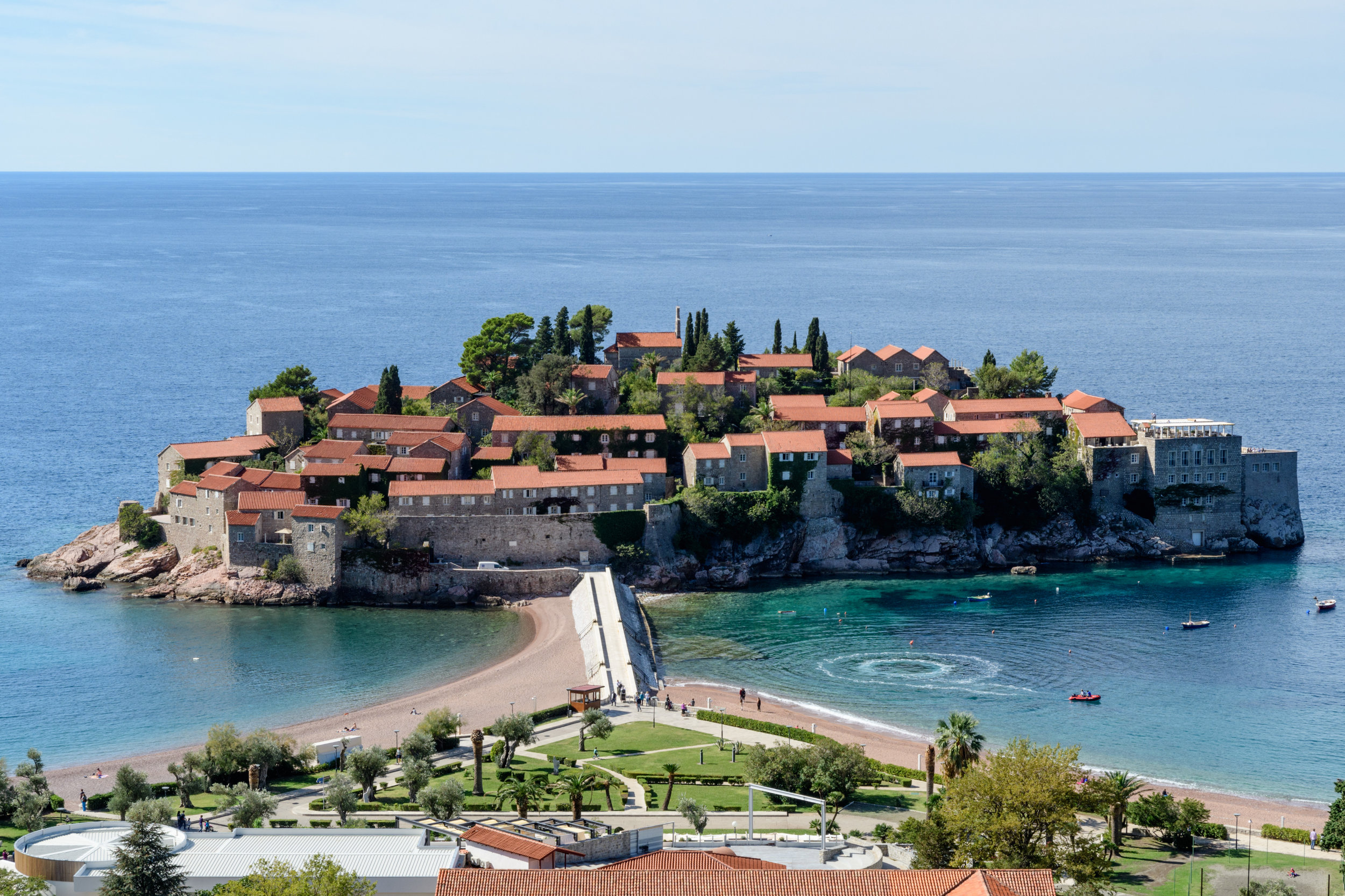 A private resort along the Budva Riviera at the site of the St Stefan church