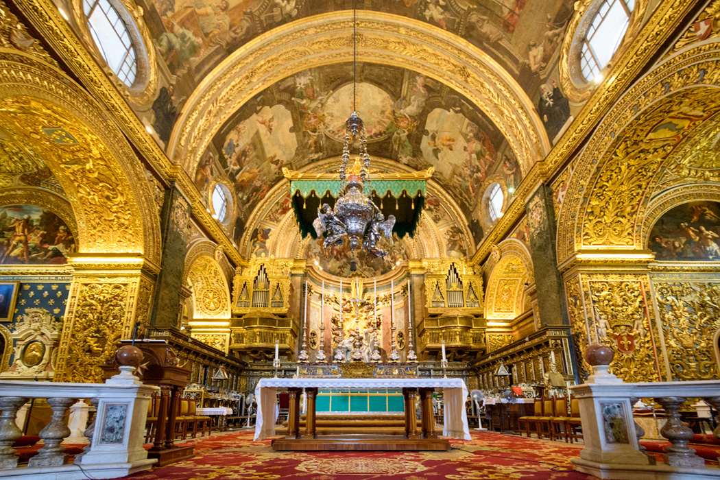 The spectacular gold nave of the Cathedral of St John. Below, details of art in the Cathedral. (Click on any image to expand)