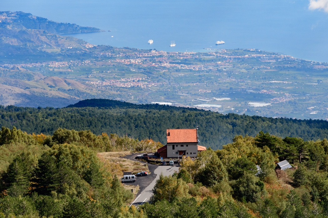 View of Rifgio Citelli, our starting point,  from the mountain