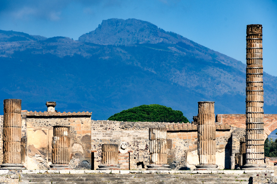 Under the shadow of Vesuvius, a still active volcano, famous for an eruption during Roman times that destroyed the entire village of Pompeii which wasn't discovered until the end of the 19th century.