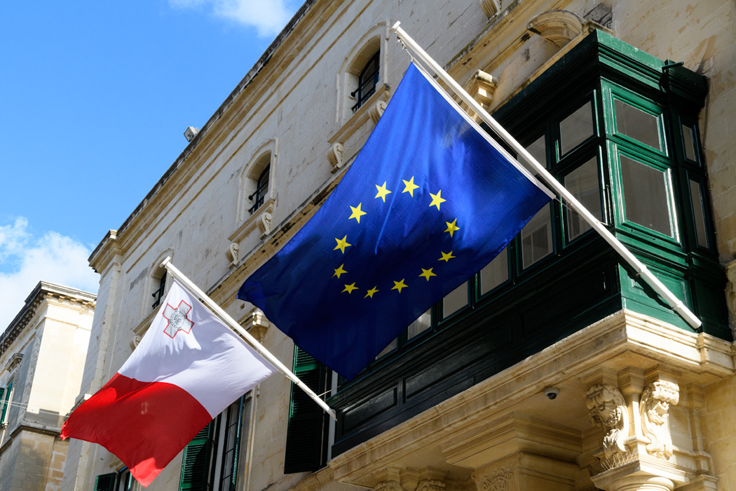 A Maltese balcony on Republic Street flies the EU and Matlese flags.