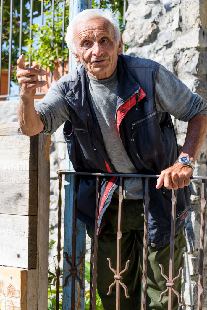 A local character in Nocello greets visitors who hike The Path of the Gods on the Amalfi Coast