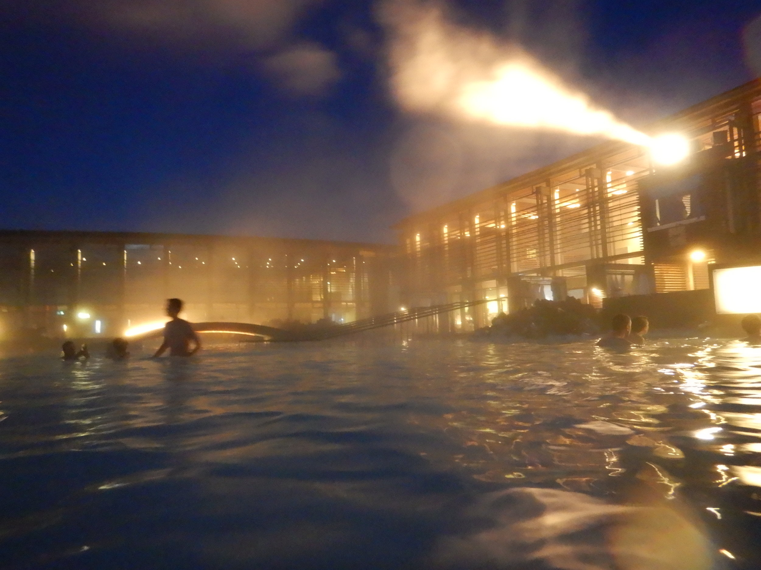 Blue Lagoon before dawn, after our early flight arrived.