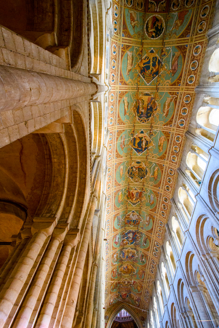 The ceiling panels tell the story of Jesus's ancestory from Adam to Mary