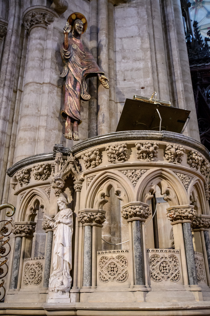 The Cathedral has been restored and added to over the centuries with a mix of old and modern art.
