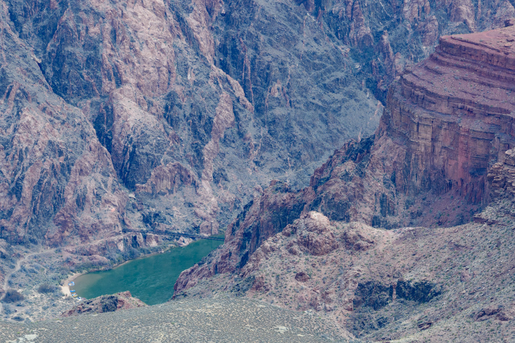 Grand Canyon, with trail bridge to North Rim