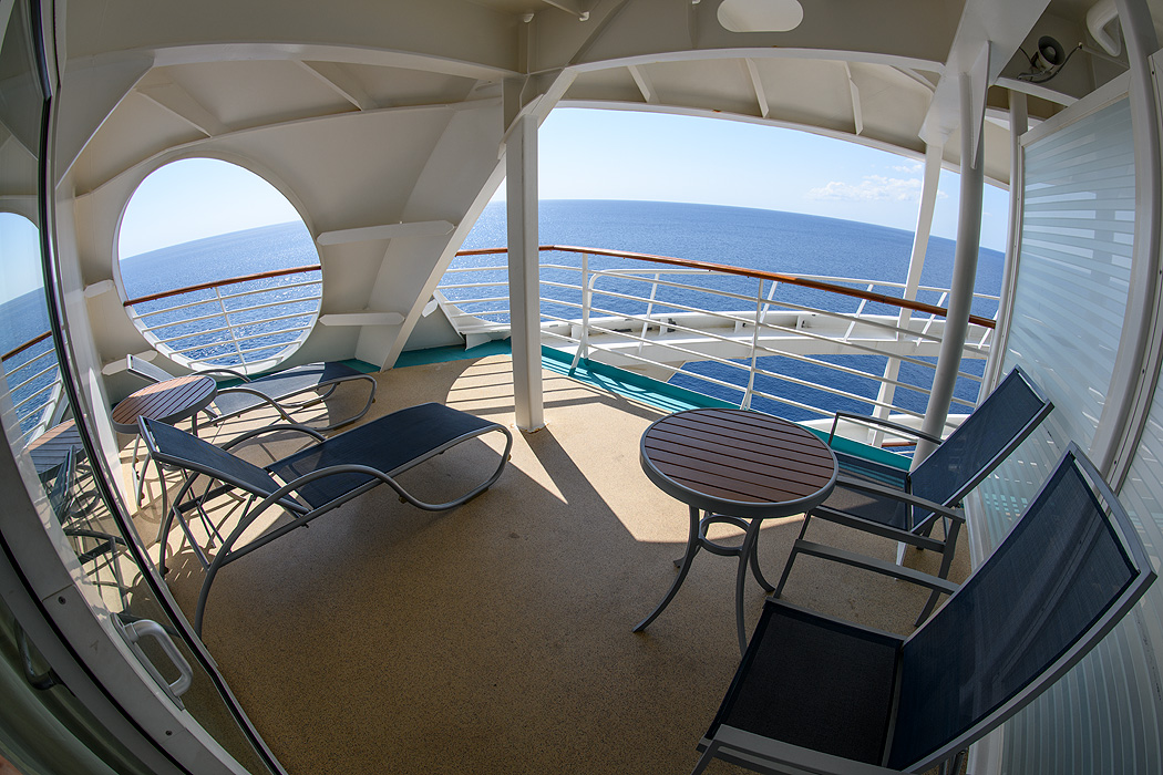 A fisheye view of the the panoramic balcony