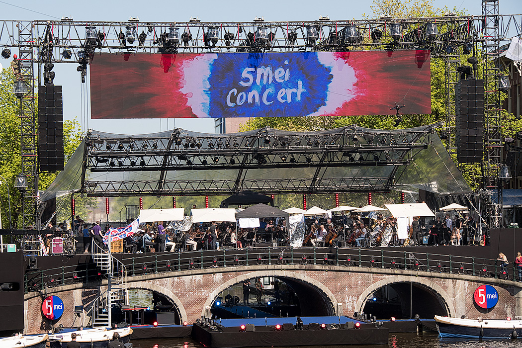A stage and barge set up in the Amstel River to celebrate 5 Mei, liberation celebrations in the Netherlands