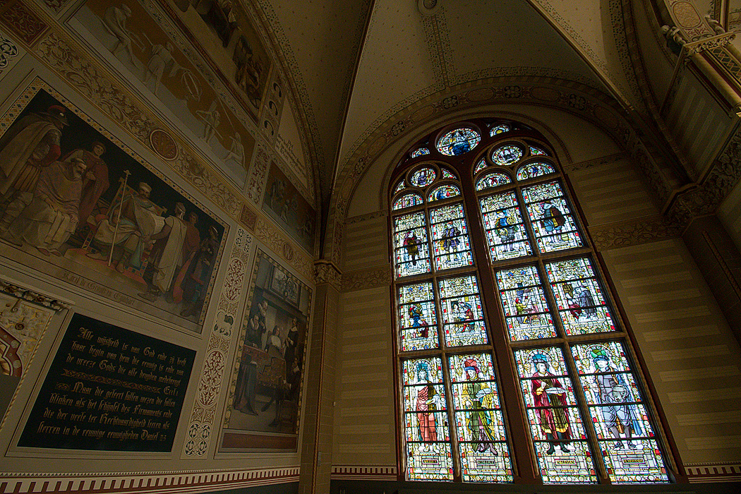The Museum was originally designed to look like a church to rival those in other European cities, despite always having been a secular building.. That includes this dramatic stained glass window, that memorializes secular historical figures in art, architecture and commerce.