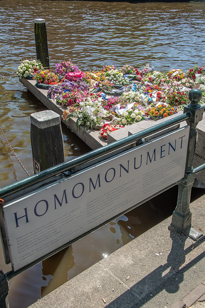 Along the Keizersgracht Canal, a modern monument to homosexuals who lost their lives during WWII is made of a pink granite triangle.