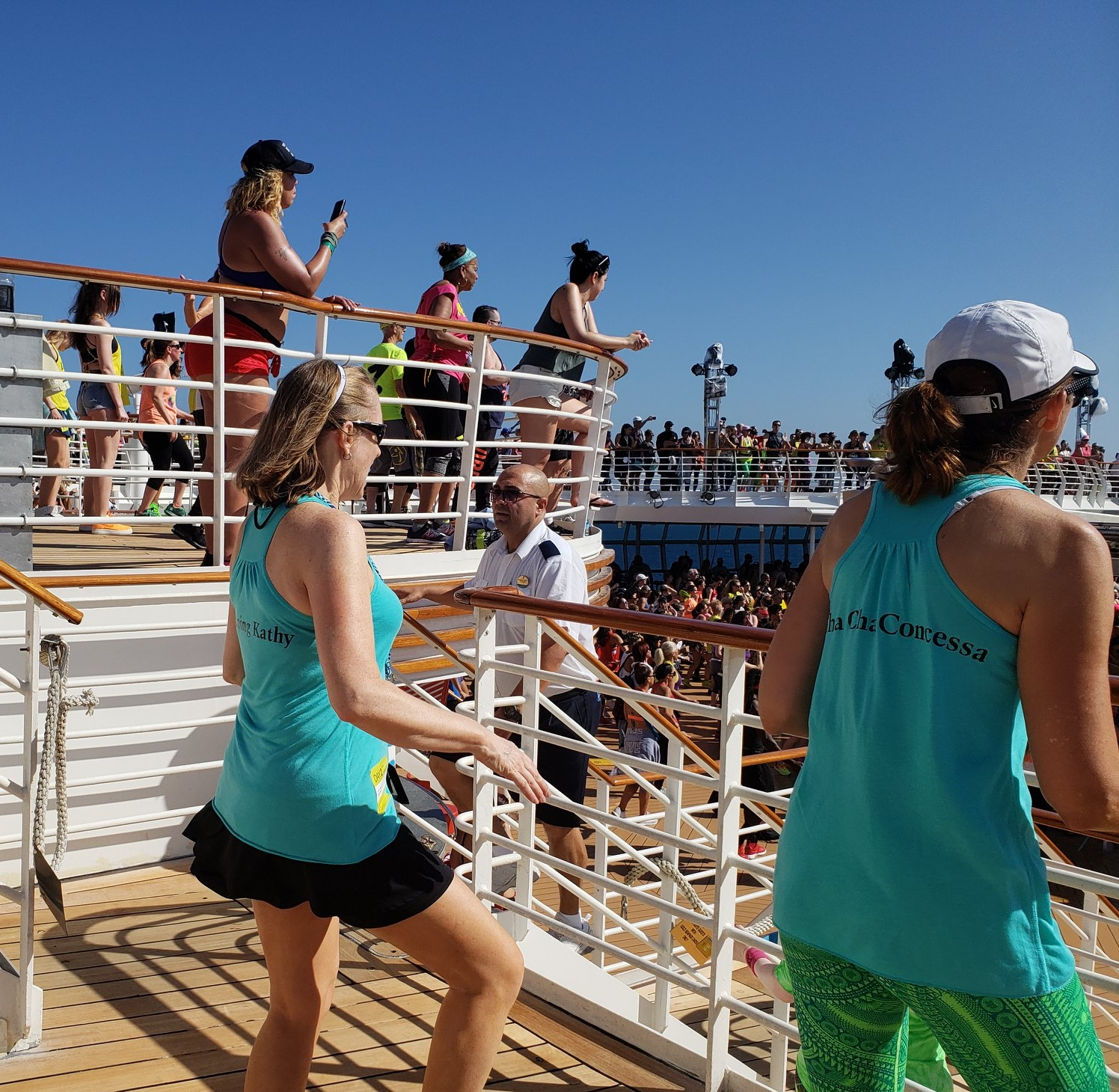 Pool decks weren't for lounging...everyone was moving! (photo C. Brown)