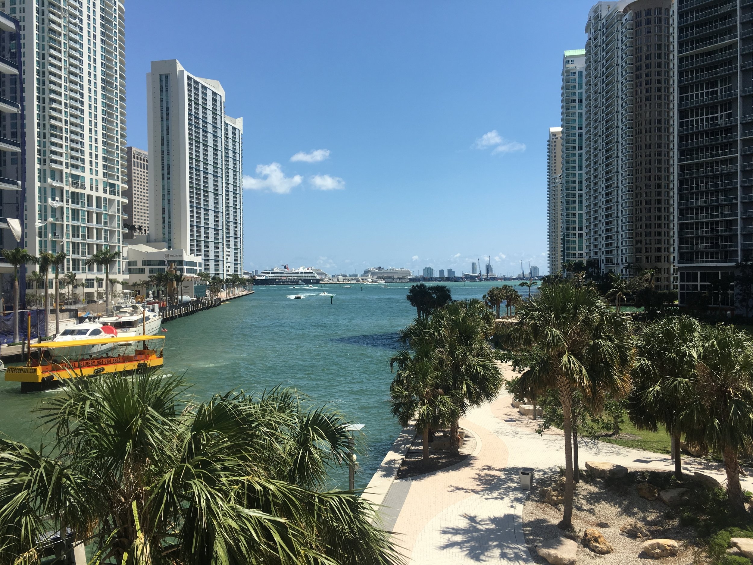 Brickell sits along the Intercoastal Waterway, parks, little drawbridges make it an interesting place to walk.