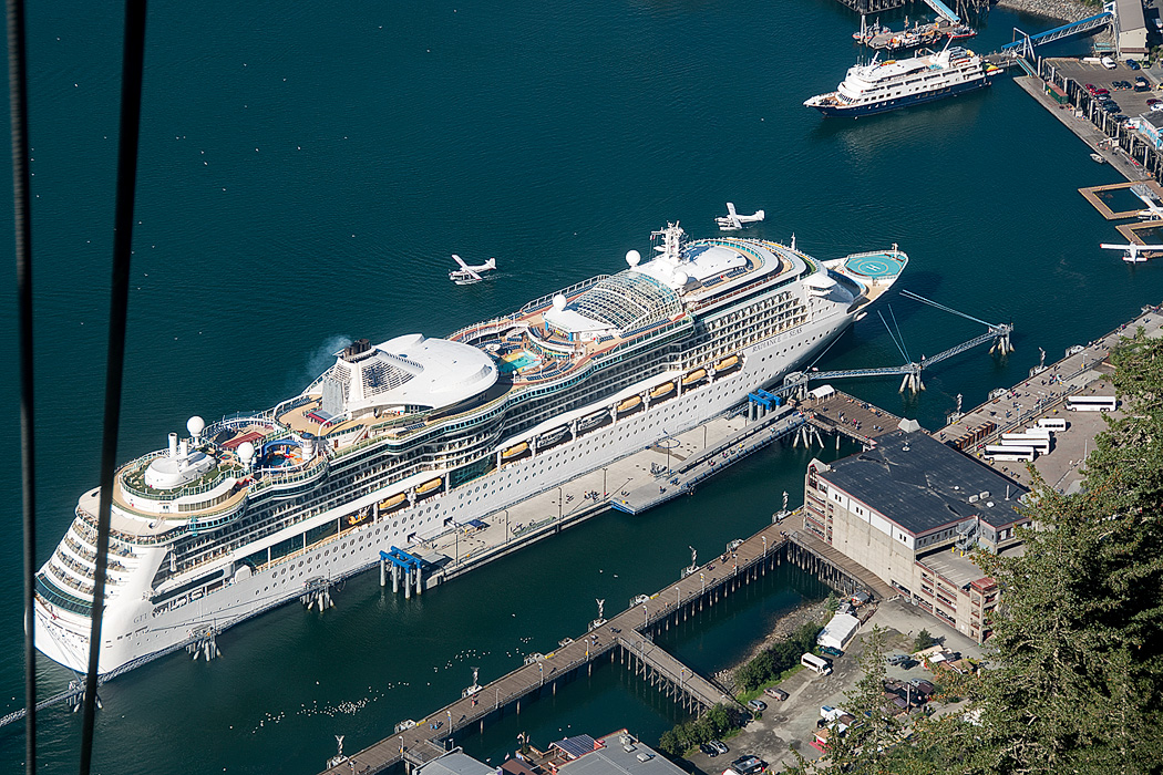 From Mt Roberts in Juneau, the Rhapsody of the Seas (on the lower left) looms over the Safari Endeavor (upper right)