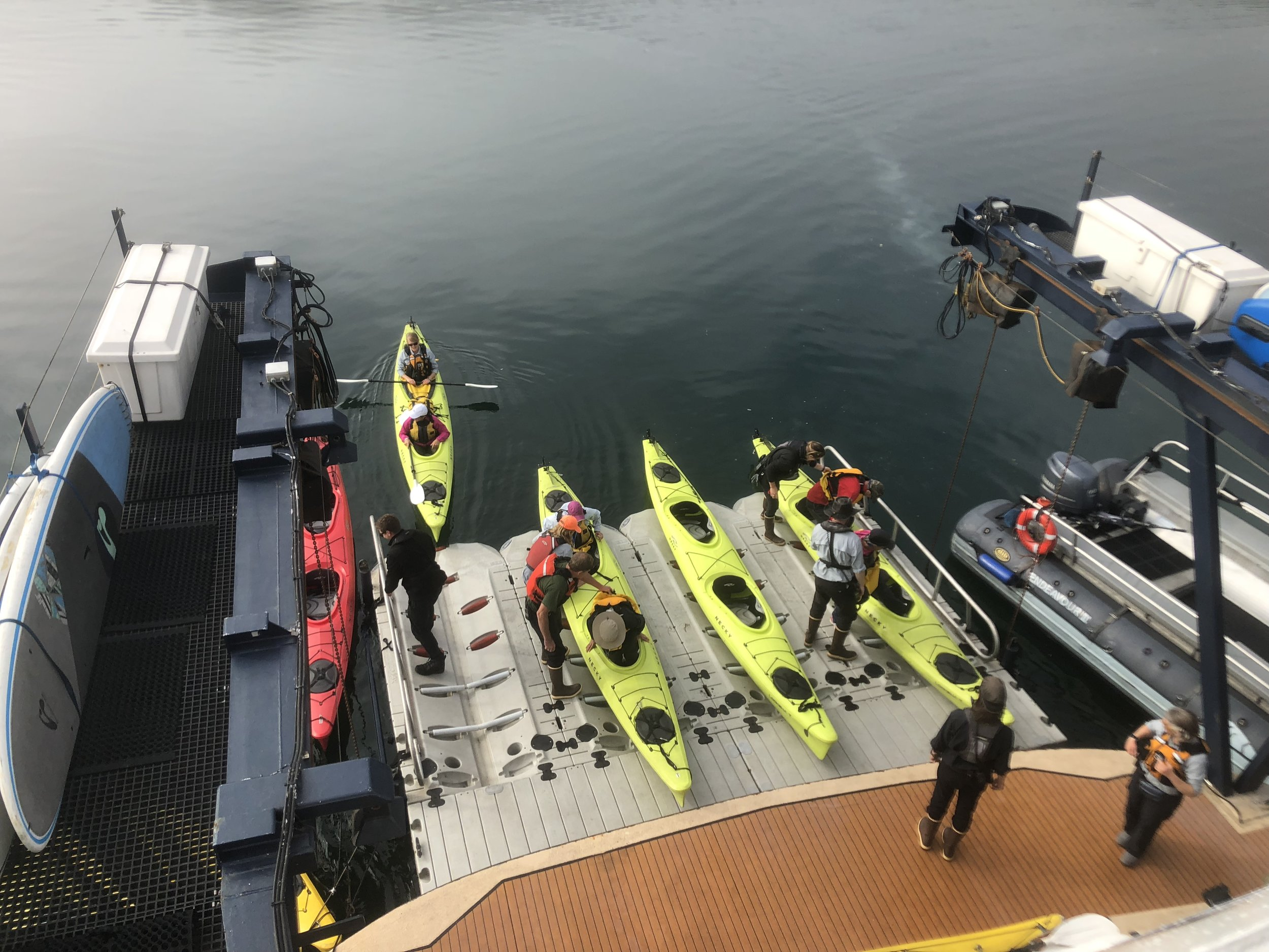 The platform for launching kayaks, paddle boards and skiffs