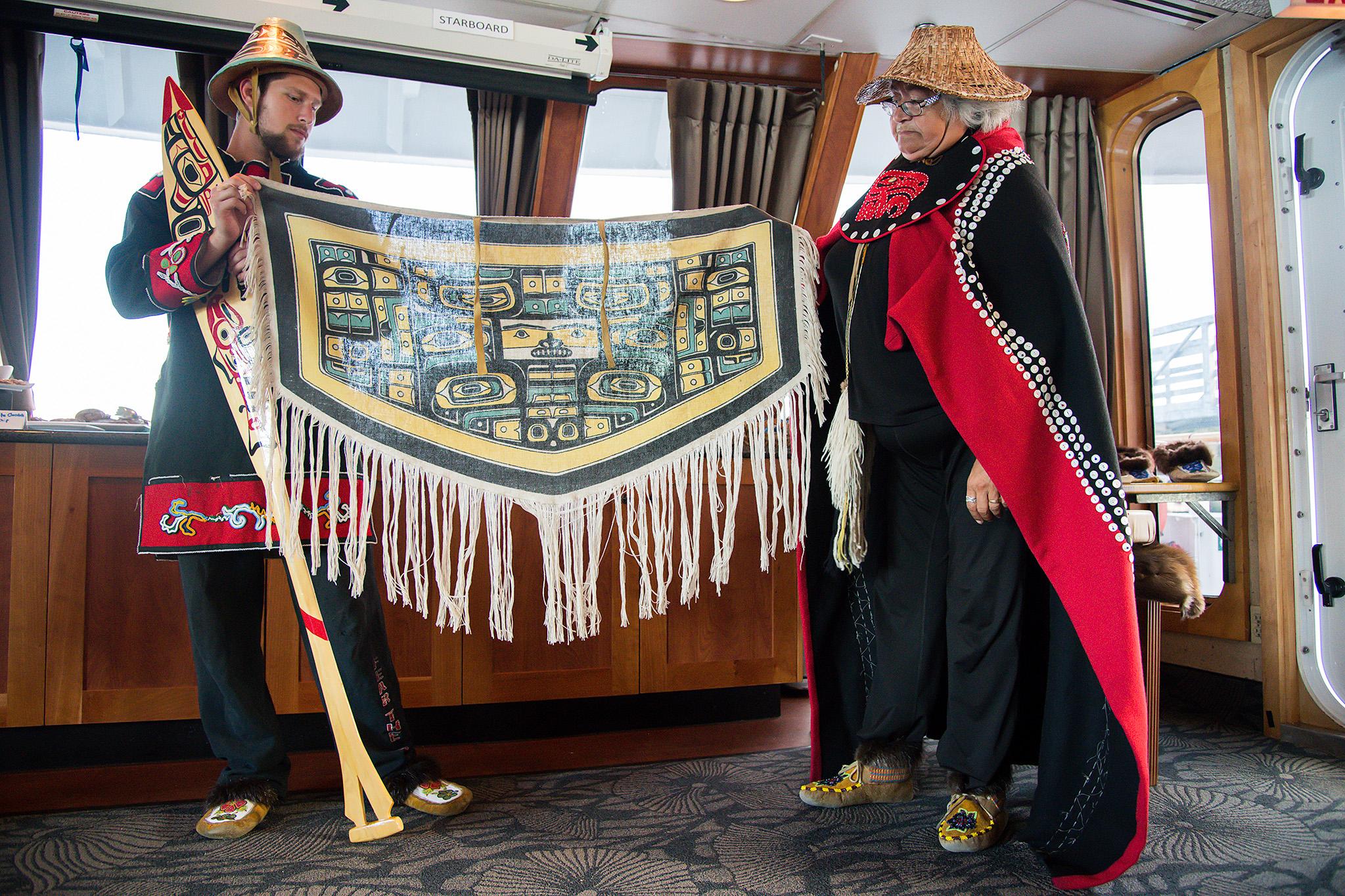 Tlingit people,native to SE Alaska,shared their handiwork and stories on board.