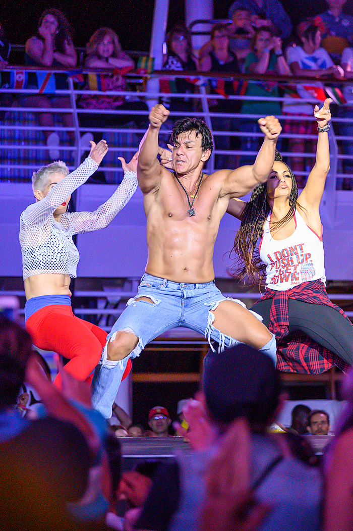"Zumba Founder Beto Perez, performs during a ""World Party"" held on the pool deck."