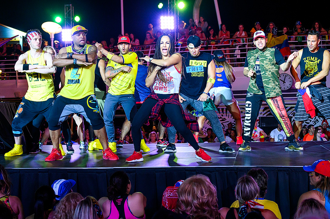 Presenter, Gina Grant presents with fellow Zumba Presenters.
