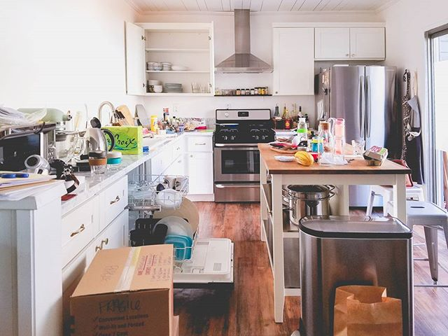 kitchen is slowly getting unpacked and resituated. but I was at least able to make coffee this morning. #itsthelittlethings #kitchenchaos #thehousethatwaited