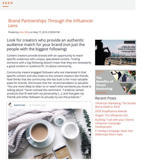 SEEN: Brand Partnerships Through the Influencer Lens