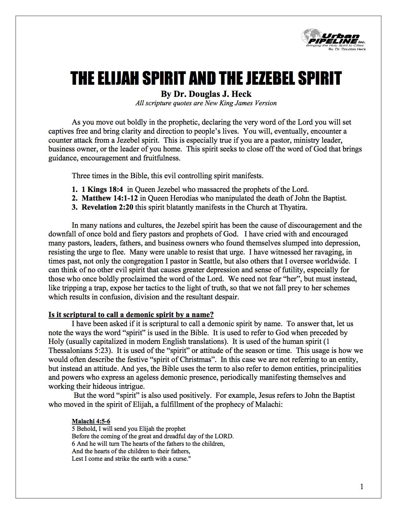 The Elijah Spirit and the Jezebel Spirit
