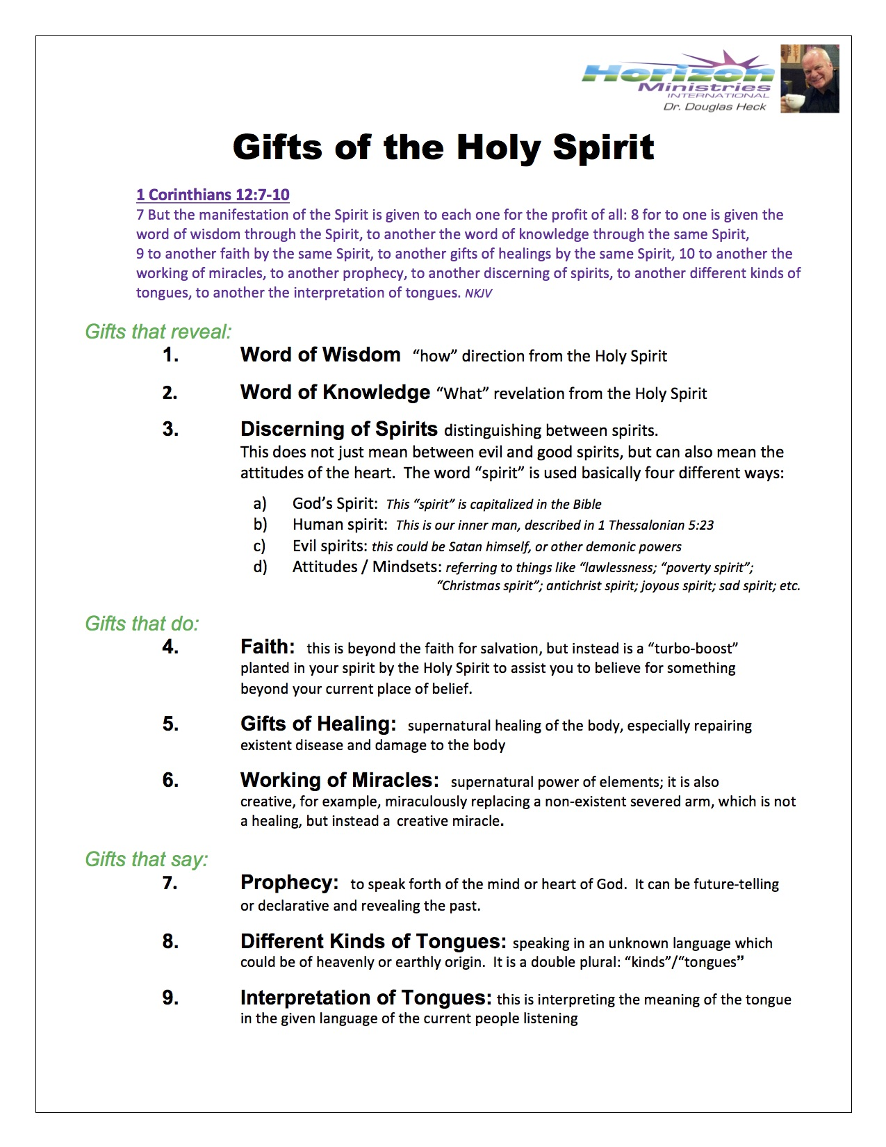 Gifts of the Holy Spirt
