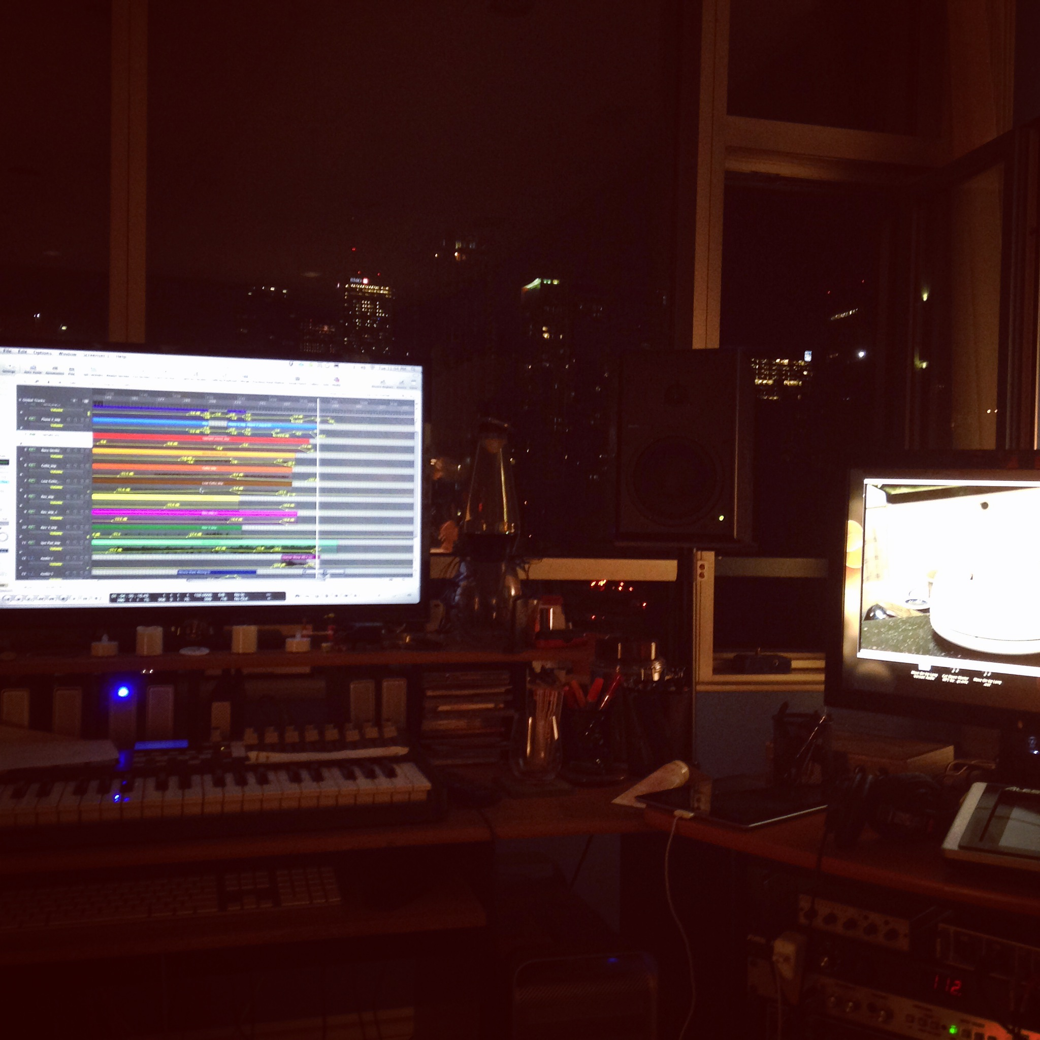 November 4th, 2014. Marc Rogers set up for composing the score from Toronto, Ont.