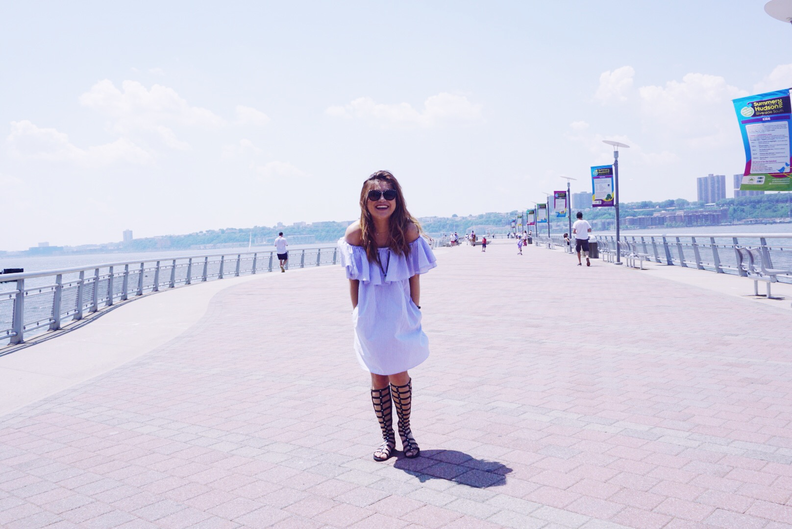 risa xu zara off the shoulder nyc pier