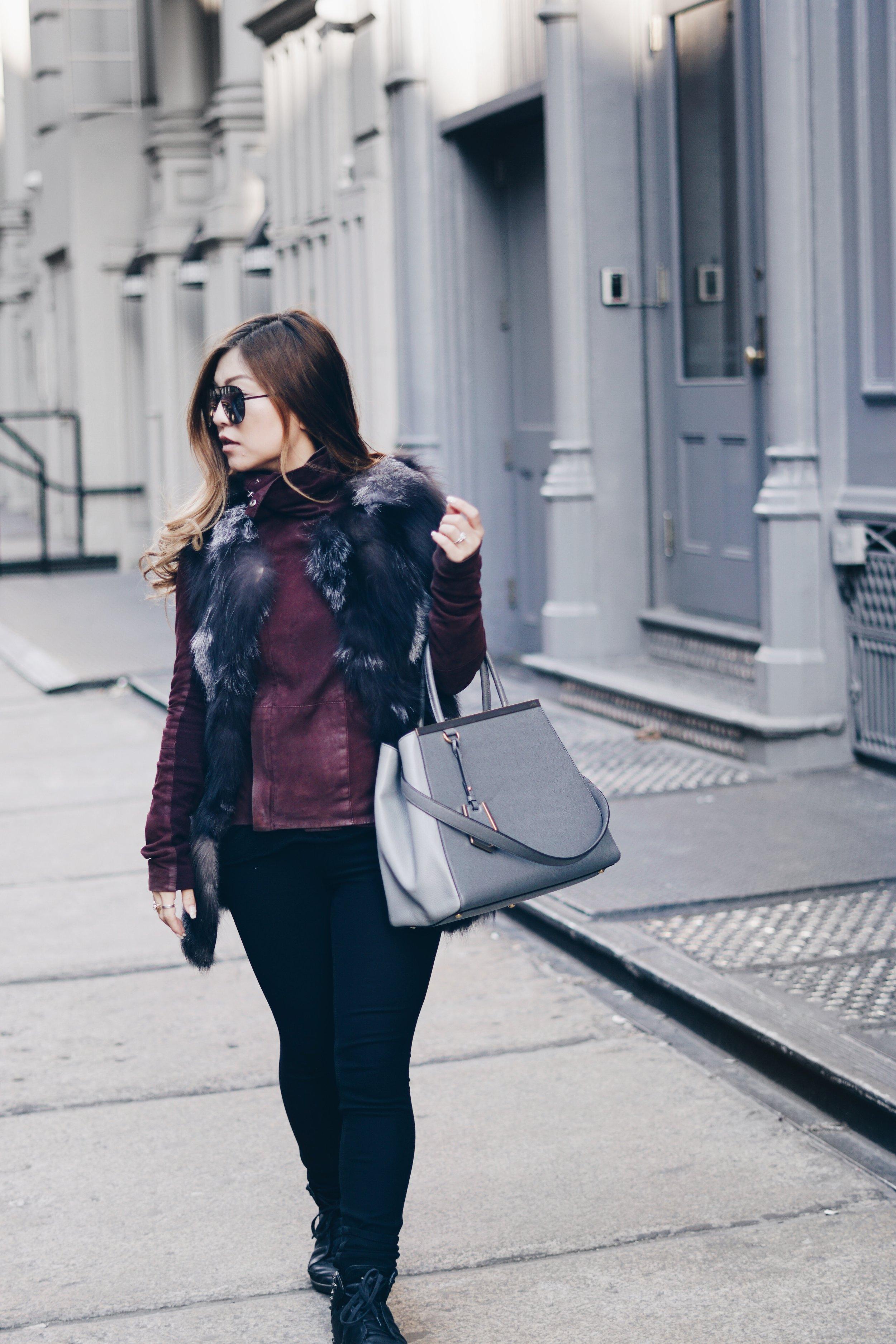 Wearing:  Rag & Bone Jeans  |  Veda  Leather Jacket |  Y-3  Honja Sneakers |  Quay  Sunglasses |  Fendi 2Jours Bag