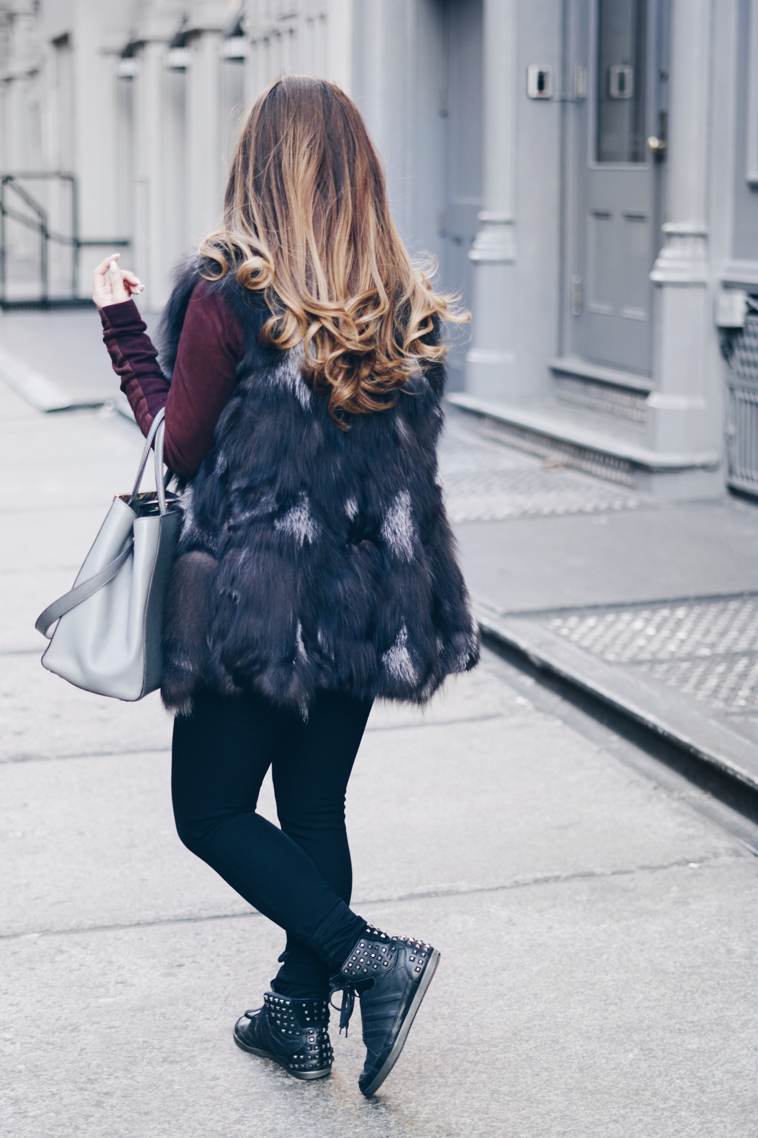 risa xu soho fur vest outfit y-3 studded high top honja