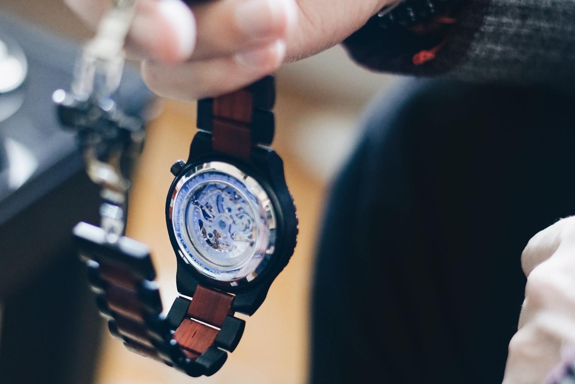 risa xu men's unique watch jord wood watch