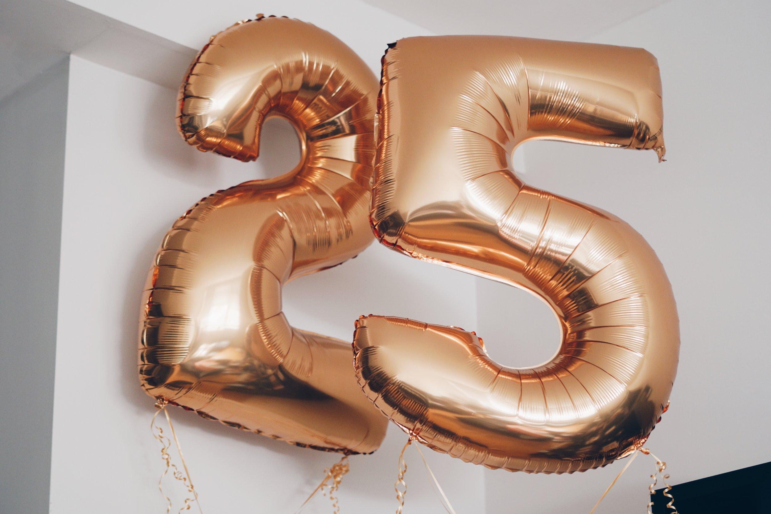 risa xu 25 birthday gold balloons