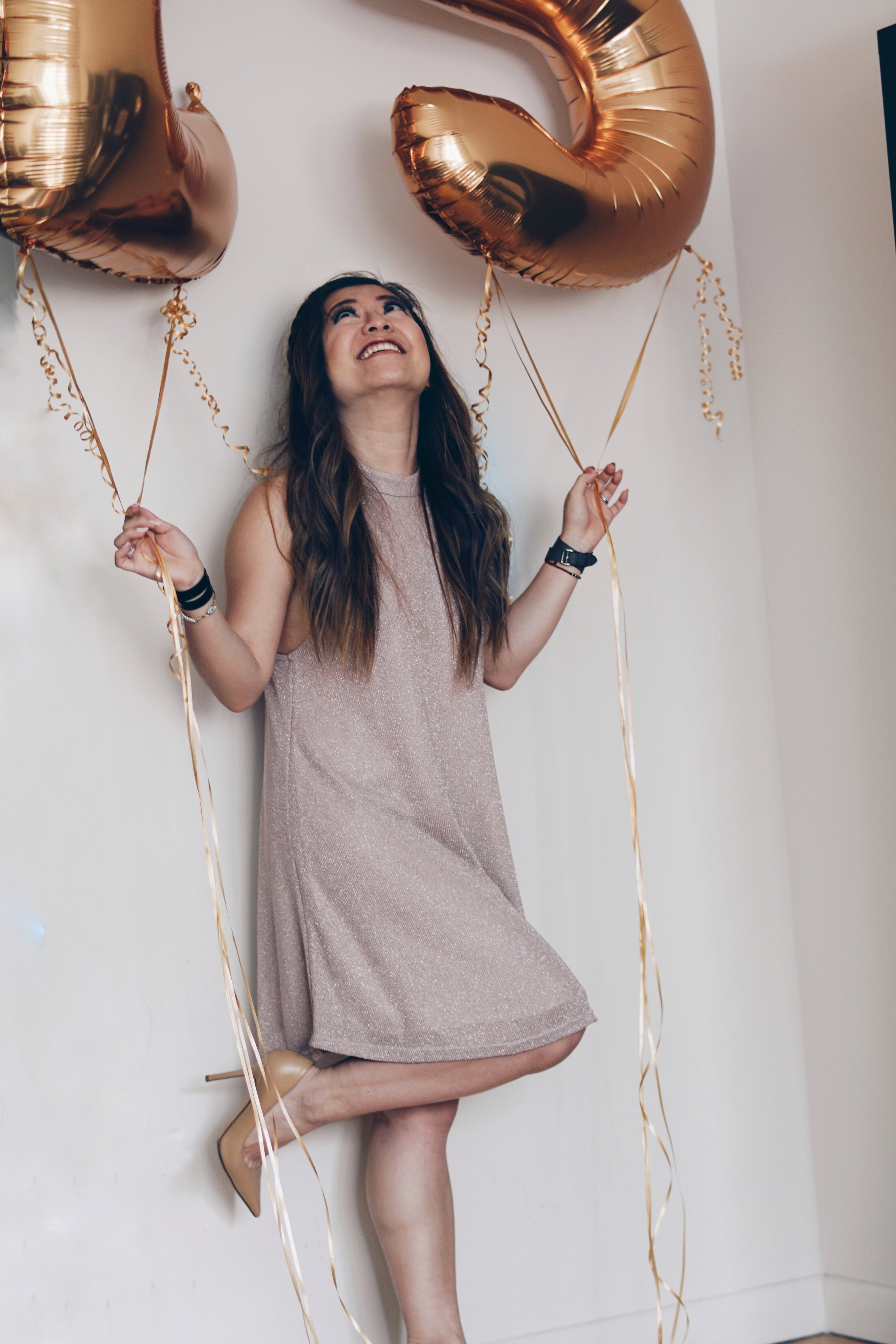 Dress:  Tobi   Shoes:  Jimmy Choo (Similar Style)   Jewelry & Watch: Hermes   Balloons:  Balloon Kings