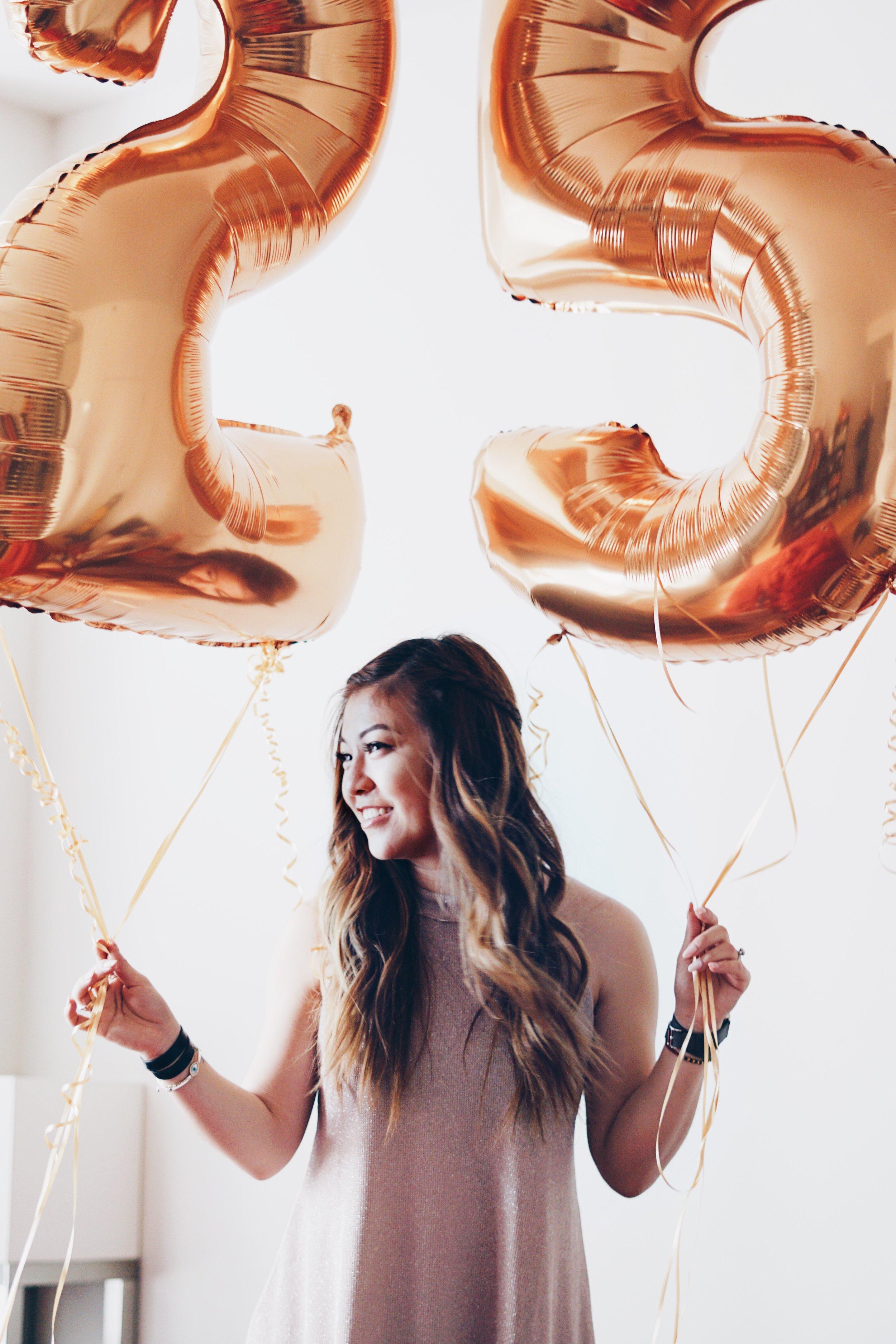Dress:  Tobi  Jewelry & Watch: Hermes   Balloons:  Balloon Kings