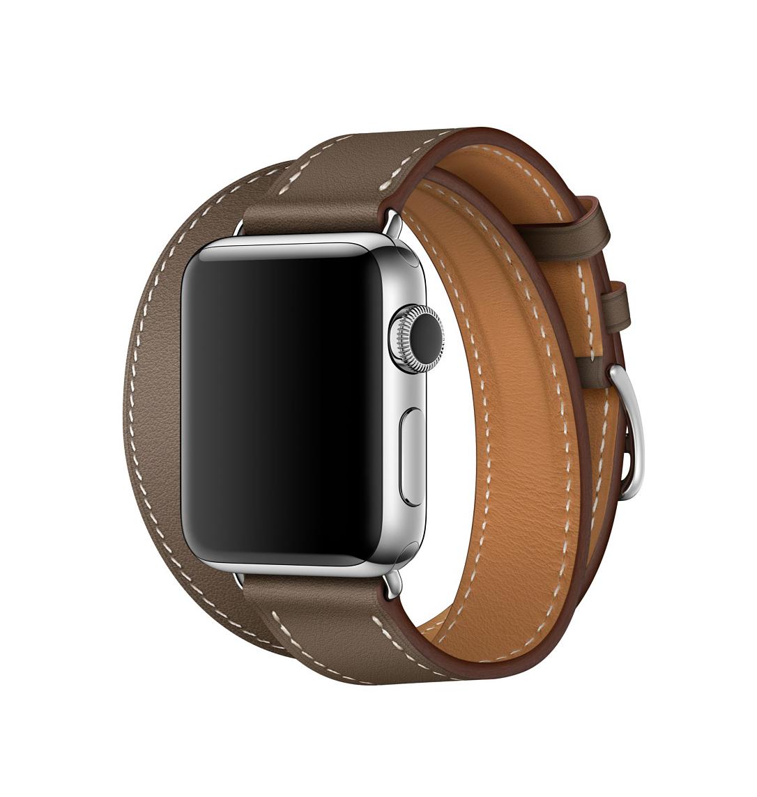 Apple Watch Hermès - 38mm Etoupe Swift Leather Double Tour