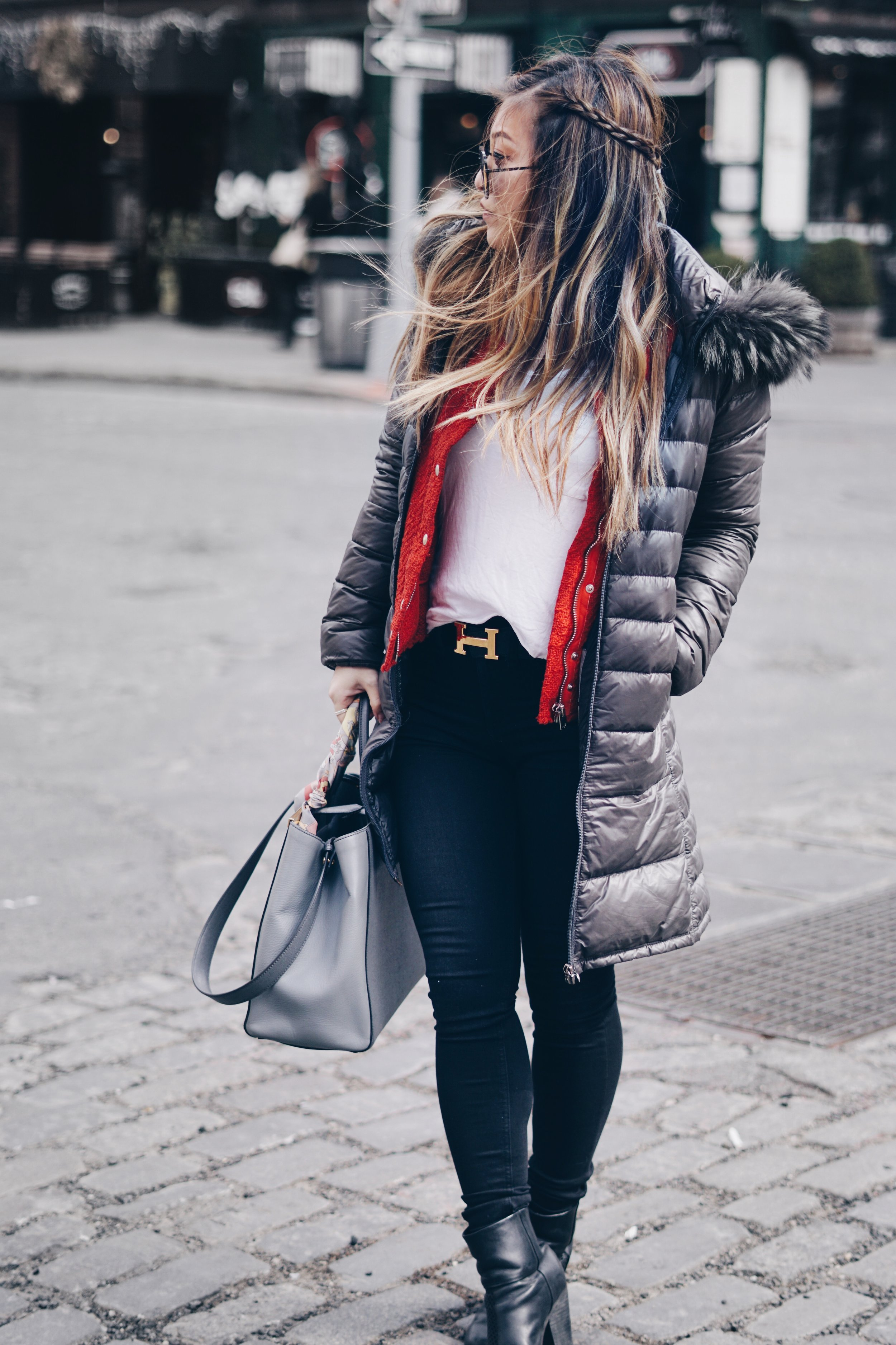 Down Jacket: Duvetica | Tweed Jacket:  IRO | Shirt: H&M |Jeans: Rag & Bone | Booties: Rag & Bone | Purse: Fendi | Sunglasses: Quay Australia | Belt:  Hermes