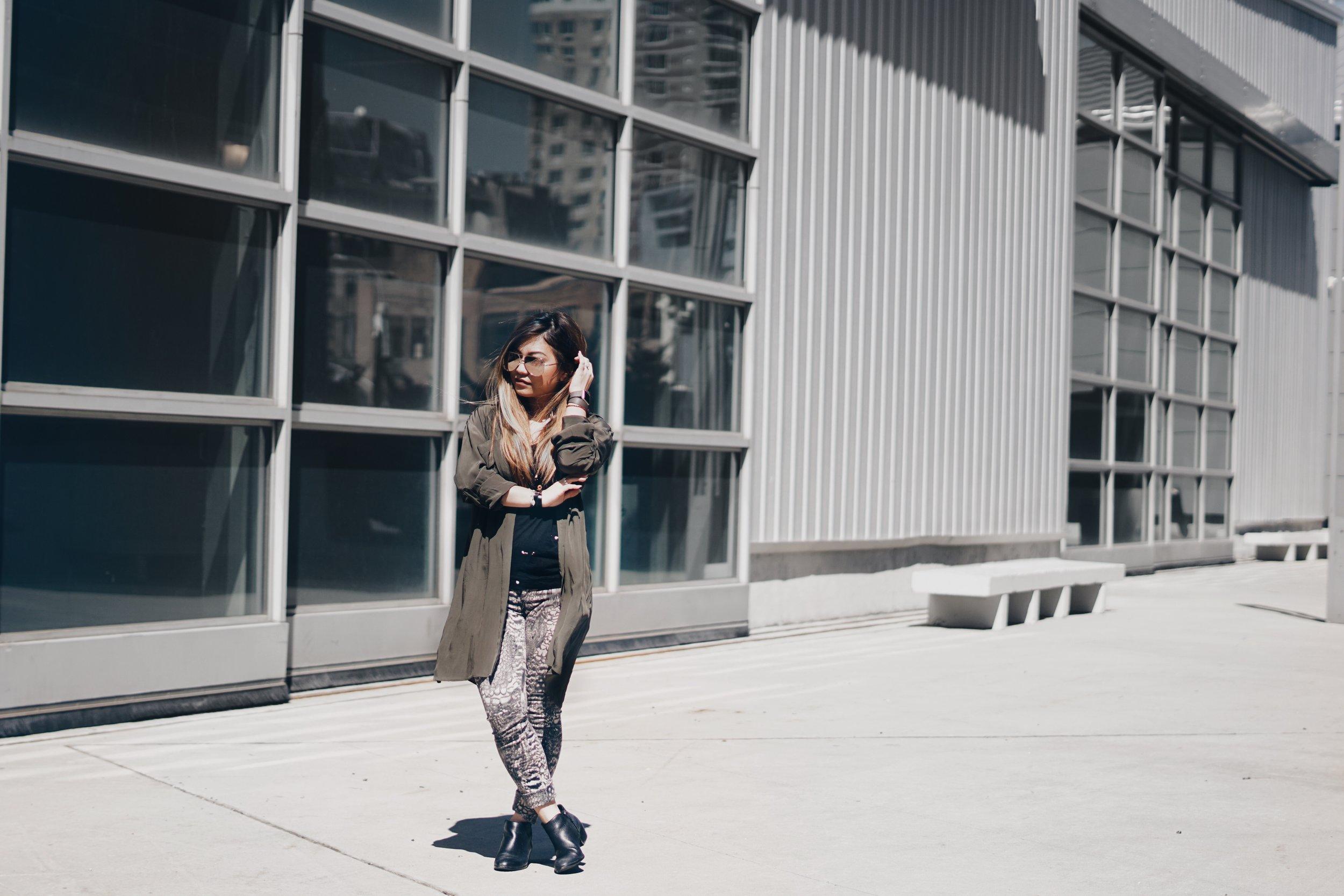 Dress (Worn as Duster):  Chelsea Flower  | Tank: Rag & Bone |Jeans: Rag & Bone | Booties: Sam Edelman | Sunglasses: Quay Australia | Jewelry & Watch: Hermes