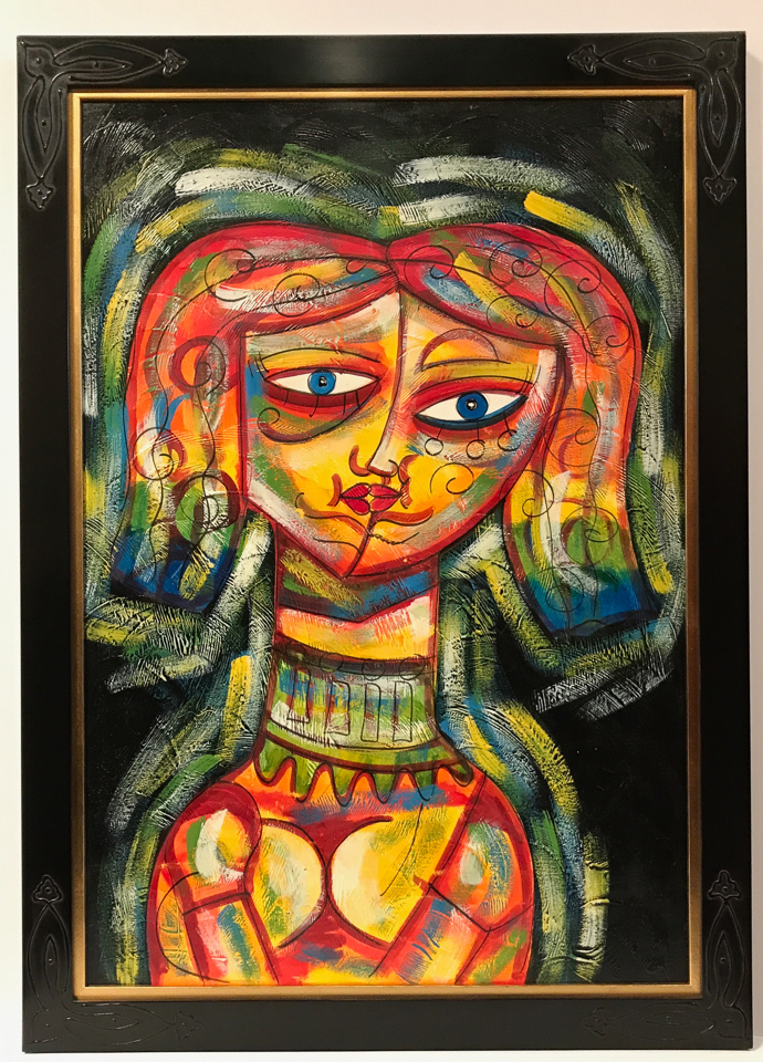 Cuban painting famed in black over red clay frame with corner detail and gold insert.